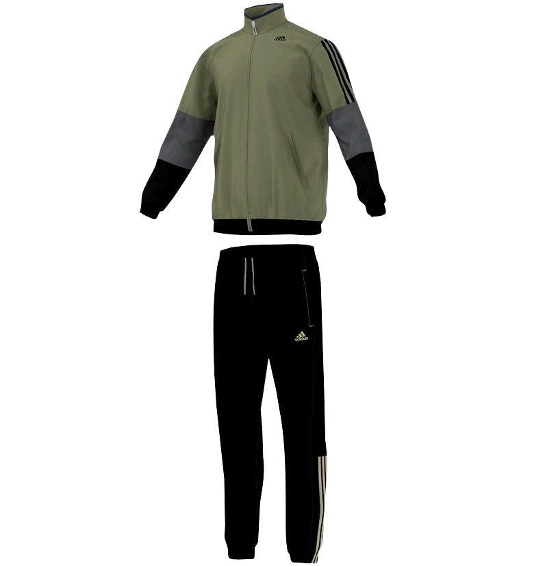 Adidas Iconic Suit Herren Trainingsanzug Jogginganzug Sport Anzug oliv/schwarz