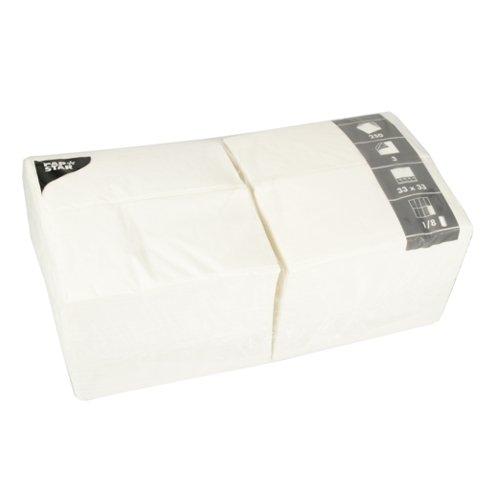 Papstar Servietten / Tissueservietten weiß (250 Stück) 33 x 33 cm, dreilagig, 1/8-Falz, ideal geeignet für Gastronomie, Haushalt oder Feste, FSC-zertifiziertes Material, #14234