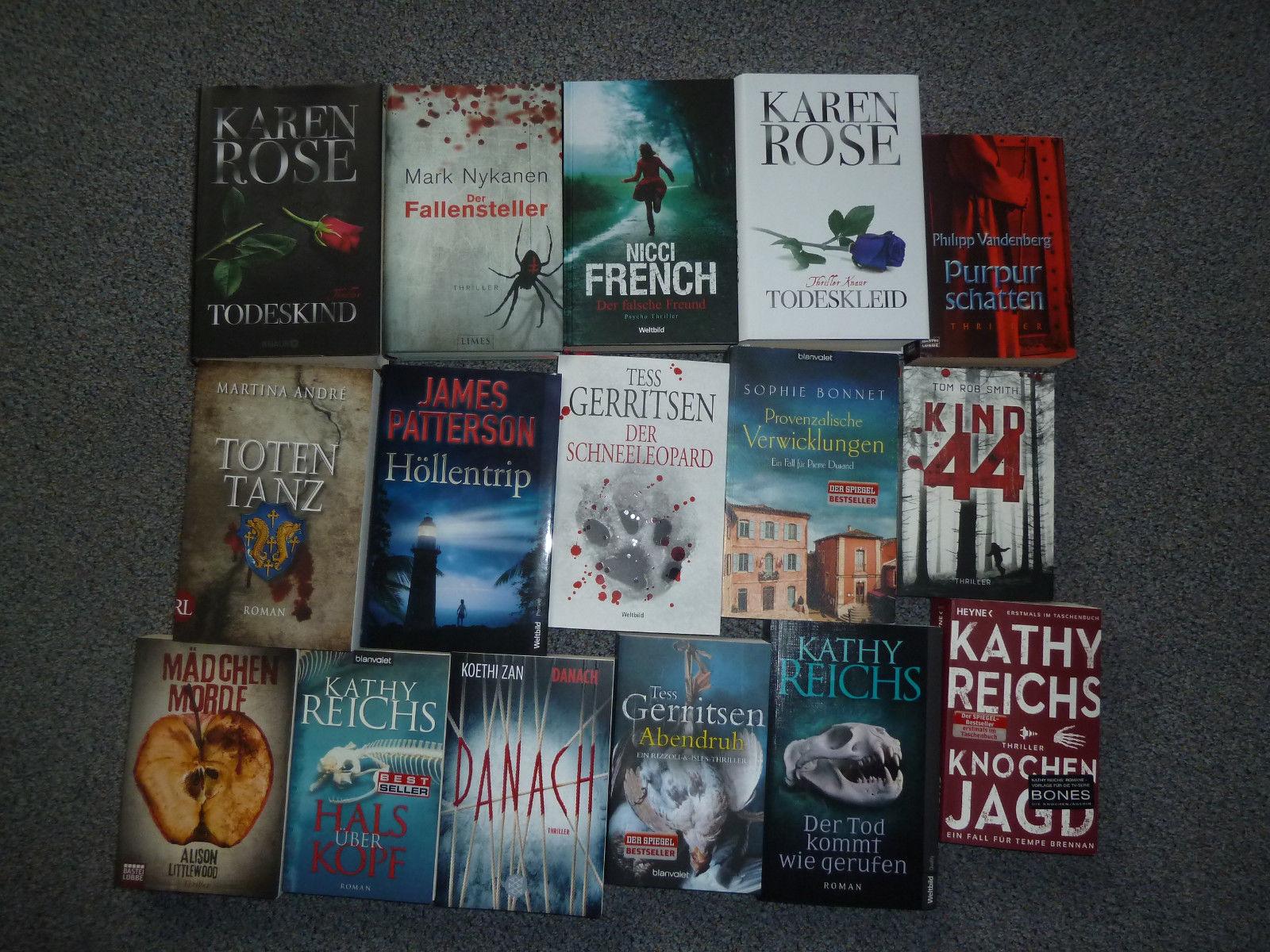 Thriller Paket - 16 Bücher (u. a. Gerritsen, Reichs, Karen Rose...)