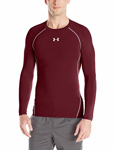 Under Armour Men's HeatGear Long Sleeve Compression Shirt, Maroon/Steel, X-Large
