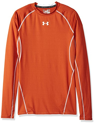 Under Armour HeatGear Armour Long Sleeve Compression Shirt Large Texas Orange/White