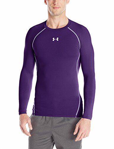 Under Armour Men's HeatGear Long Sleeve Compression Shirt, Purple/Steel, X-Large