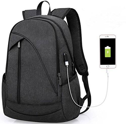 Laptop Backpack with USB Charging Port: Business Anti-Theft Water Resistant Rucksack School Bookbag for College Up to 15.6-Inch Laptop and Notebook