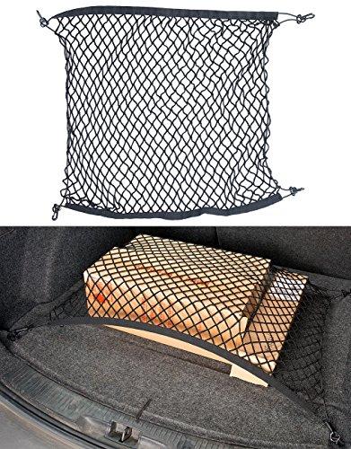 Lescars Auto-Gepäcknetze: Universal-Kofferraum-Gepäcknetz, 70 x 70 cm, dehnbar auf 105 x 105 cm (Autosicherheitsnetz)