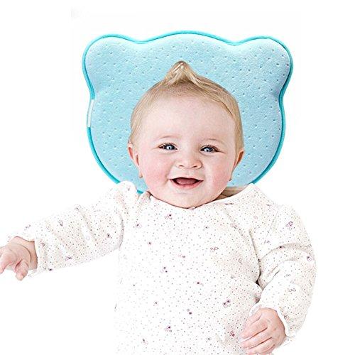 Babykissen Örthopädisches Kissen Blau für Babys Mädchen Junge Kleines Babykopfkissen gegen Verformung Plattkopf Flache Kopfform Samt Babykissen Bär mit Abnehmbaren Bezügen Memory Foam von YOOFOSS