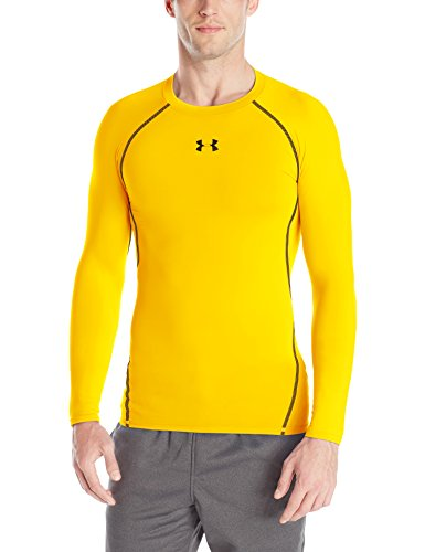 Under Armour Men's HeatGear Long Sleeve Compression Shirt, Steeltown Gold/Black, Medium