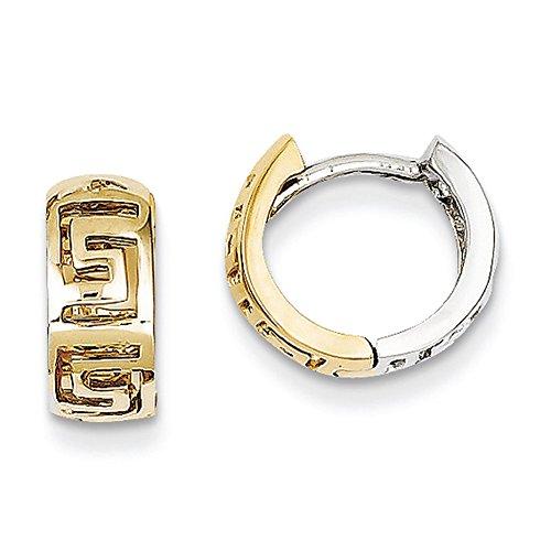 14K Zweifarbig Gold Griechisch Schlüssel Scharnier Creolen TM590