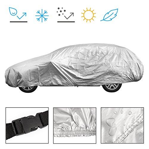 Minuma Autoplane Größe M | für viele Autos und Modelle geeignet mit Gummizug im Saum und Sicherheitsschnalle für Wind | Autogarage Abdeckplane für Winter & Sommer | einfache Benutzung | Farbe: Silber