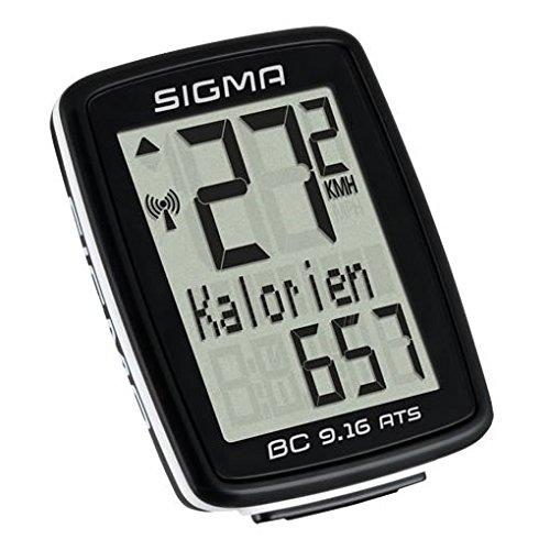 Sigma Sport Fahrrad Computer BC 9.16 ATS, 9 Funktionen, Maximalgeschwindigkeit, Kabelloser Fahrradtacho, Schwarz