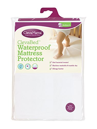 Clevamama Waterproof Mattress Protector Crib (90x40 cm)- Fitted, Brushed Cotton