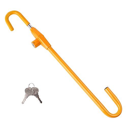 FIXKIT Autolenkradschloss, Universal Lenkradkralle aus gehärtetem Stahl, schützt vor Diebstahl und unbefugtem Gebrauch des Autos -- gelb (mit zwei Schlüsseln)