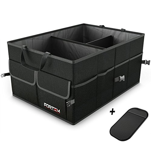 Car Trunk Organizer For SUV Truck | Auto Durable Collapsible Cargo Storage | Non Slip Bottom Strips To Prevent Sliding | Bonus Foldable Thin Nylon Waterproof Cover