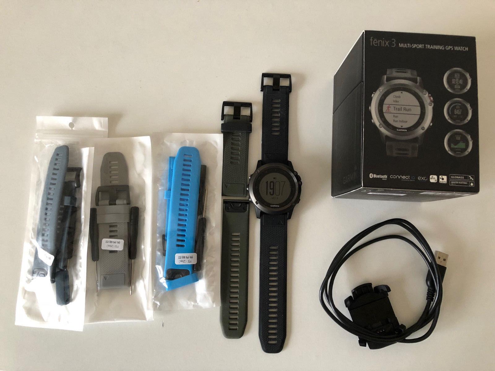 Garmin fenix 3 GPS-Multisport-Uhr (grau/schwarz) + Zubehör + OVP