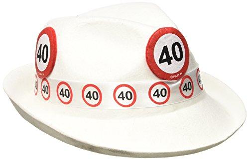 Folat 62340 Tribly Party Hut - Verkehrszeichen 40 Jahre, Weiß, Einheitsgröße