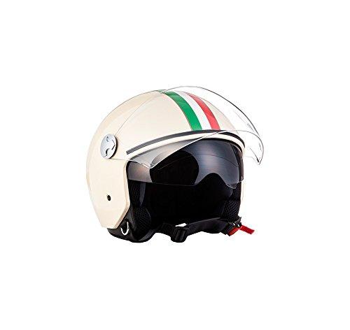 "ARMOR · AV-63 ""Italy Creme"" (Gelb) · Jet-Helm · Bobber Scooter-Helm Chopper Mofa Motorrad-Helm Roller · ECE certified · Separate Visors · Click-n-Secure Clip · Tragetasche · M (57-58cm)"