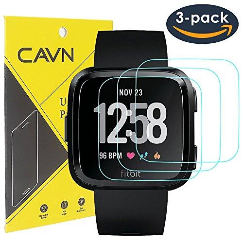 CAVN 3 Packs Fitbit Versa Schutzfolie,Schirm Schutz Gehärteter Glasschirm Schutz für Fitbit Versa Intelligente Uhr [2.5 d Runder Rand] [9/9 Härte] [Crystal Clear] [Anti-kratzen] [NO-Bubble]