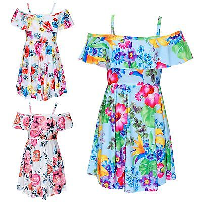 Girls Skater Dress Kids Floral Print Summer Party Off Shoulder Dresses 7-13 Yr