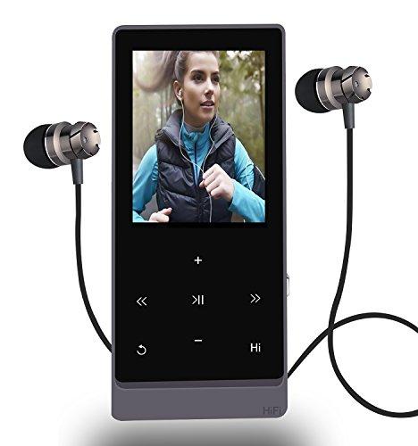 MP3-Player 8GB Hi-Fi verlustfreie Sound Bluetooth Musik Player mit Touch Button & FM Radio und Voice Recorder Funktion, Unterstützung erweiterbar auf bis zu 32GB (schwarz)