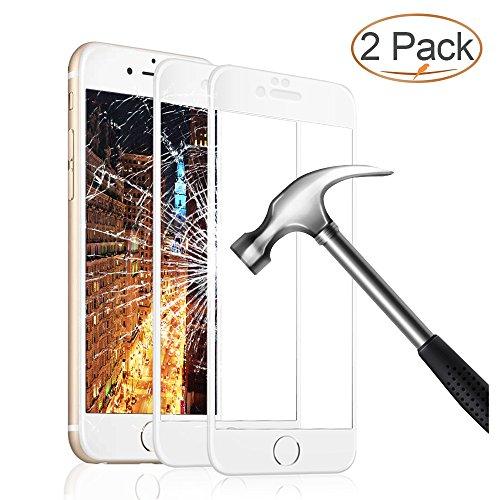 Panzerglas Schutzfolie für iPhone 6 6s , 2 Stück Ultra-klar 3D Vollständige Abdeckung 9H Härtegrad 4,7 Zoll 3D Panzerglasfolie Displayschutzfolie für iPhone 6 6s(Weiß)