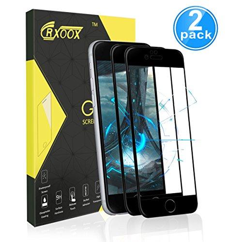 Panzerglasfolie für iPhone 7/ iPhone 8, [2 Stück]CRXOOX HD 9H Full Coverage Panzerglas Schutzfolie Anti-Öl, Kratzer und Fingerabdrücke Blasenfrei, 3D Touch Kompatibel Displaychutzfolie (schwarz)