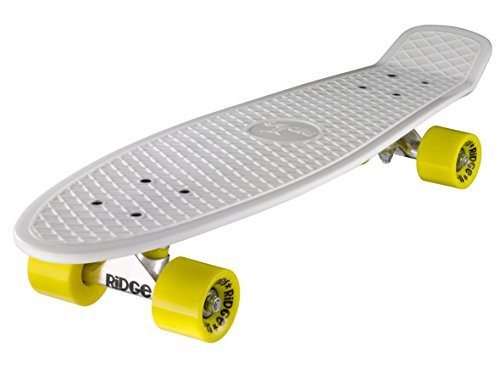 Ridge Skateboard Big Brother Nickel 69 cm Mini Cruiser, weiß/gelb
