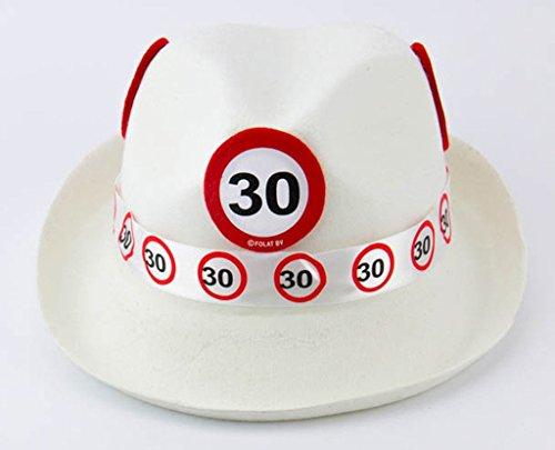 Folat 62330 Tribly Party Hut - Verkehrszeichen 30 Jahre, Weiß, Einheitsgröße