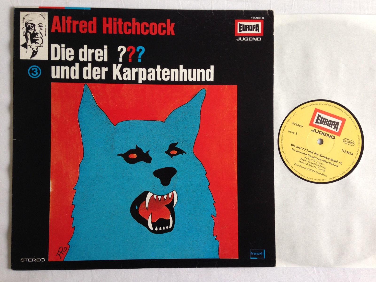 DIE DREI ??? FRAGEZEICHEN und der Karpatenhund 3 LP 1.Pressung 1979 A. Hitchcock