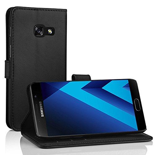 Samsung Galaxy A5 2017 Leder Hülle, Simpeak Flip Wallet Cover Case mit Standfunktion Kartenfächer für Galaxy A5 2017 (Schwarz)