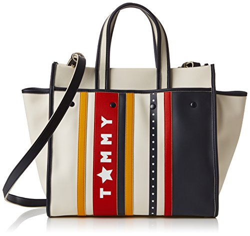 Tommy Hilfiger Damen Tommy Heritage Tote Stars & Stripes, Elfenbein (Stars and Stripes), 18x30x38 cm