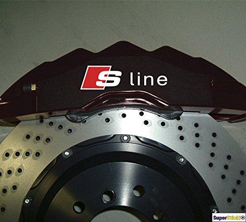 4 x S-LINE Bremsen Aufkleber Hitzefest!!! Bremsenaufkleber Sticker Decal für Bremsen aus Hochleistungsfolie Aufkleber Autoaufkleber Tuningaufkleber von SUPERSTICKI® aus Hochleistungsfolie für alle glatten Flächen UV und Waschanlagenfest Tuning Profi Quali