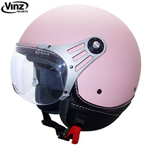 Vinz Motorradhelm Rollerhelm Jethelm Jet Helm Fashionhelm rosa in Gr. XS-XL | Helm mit Visier | ECE zertifiziert (M)
