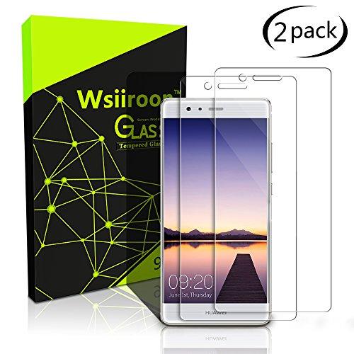 Schutzfolie für Huawei P9 Lite, [2 Stück] Wsiiroon Panzerglas mit 3D Touch Kompatibel-0.33mm für Huawei P9 Lite, 9H Härte, 2.5D Kanten, 99% Transparente Displayschutzfolie für Huawei P9 Lite
