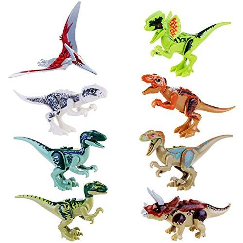 JZK 8 x Klein Kindersicher Spielzeug Jurassic Welt Dinosaurier Blöcke Set, Kopf, Mund, Hände, Füße sind beweglich, Mini ungiftig Dino Figuren Geschenk Dekoration für Kinder Geburtstag Party