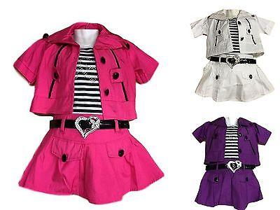NEU Mädchen Sommer Kleid mit Weste Gürtel 3 Teile Set Gr. 104-152 pink,lila,weiß