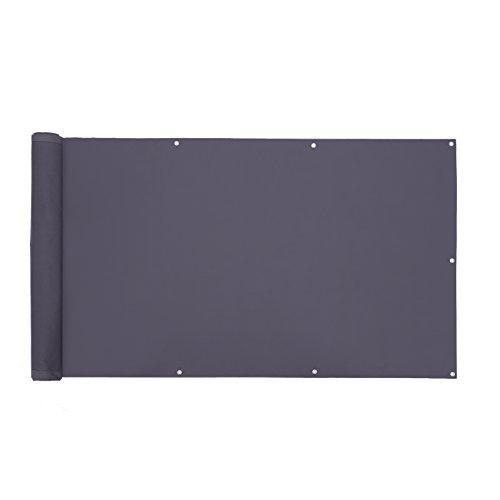 SONGMICS Balkonsichtschutz Balkonbespannung Sichtschutz ohne Schrauben aus Polyester wasserdicht 90 x 600 cm anthrazit GCO90GY