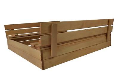Sandkasten Sandbox mit Deckel SITZBÄNKEN Sandkiste 120x120CM Holz Imprägniert Sc