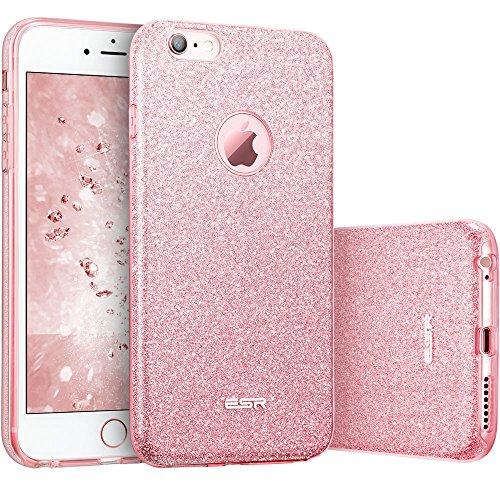 iPhone 6 / 6S Hülle (4,7 Zoll), ESR® Glitzer Schutzhülle [Weiche TPU Abdeckung + Glitzer Papier + PC innere Schicht] [Drei in Einem] Hülle für iPhone 6/6S (Rosygold)