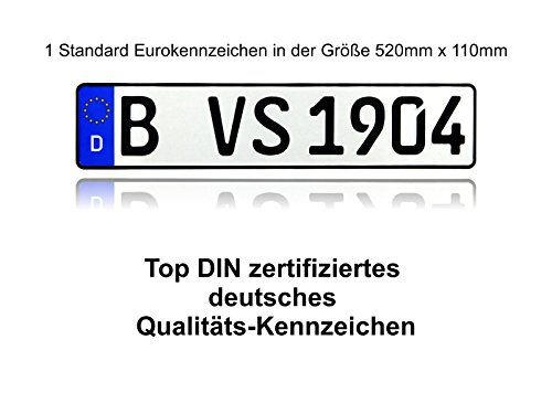 1 DIN zertifiziertes Eurokennzeichen in der Standard-Größe 520mm x 110mm mit ihrer Wunschprägung auch für Fahrradträger geeignet in Top Qualität
