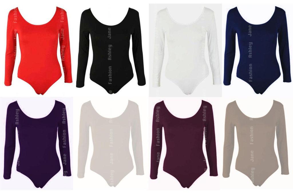 Womens Long Sleeve Leotard Bodysuit Stretch Body Top Tshirt UK 8-28
