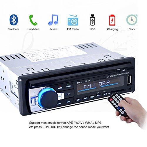 Autoradio mit Bluetooth Freisprecheinrichtung und Abspielfunktion für Smartphone,Handy,MP3-Player,USB Anschluss und SD Kartenslot,4x 60Watt,Aux-Eingang (KT-6203 Schwarz)