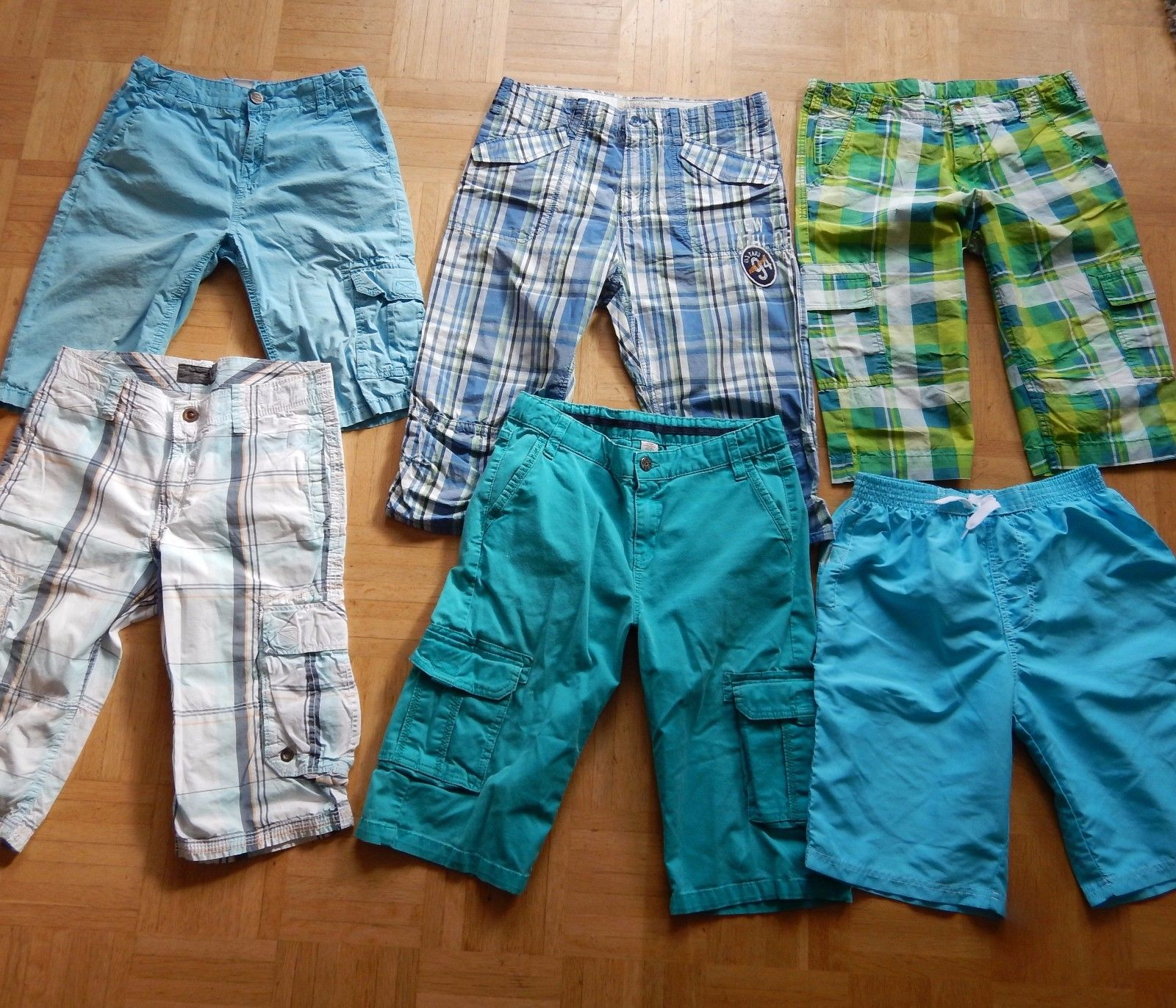 Jungen Hosenpaket Shorts kurze Hosen 6 Stck. Gr. 158 - 164: s.Oliver, H&M...