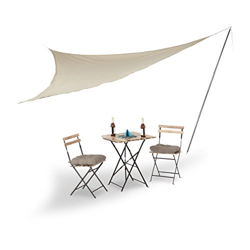 Relaxdays Sonnensegel groß mit Stange, dreieckig, Polyester, UV-beständig, einfarbig, Seitenlänge 360 cm, beige