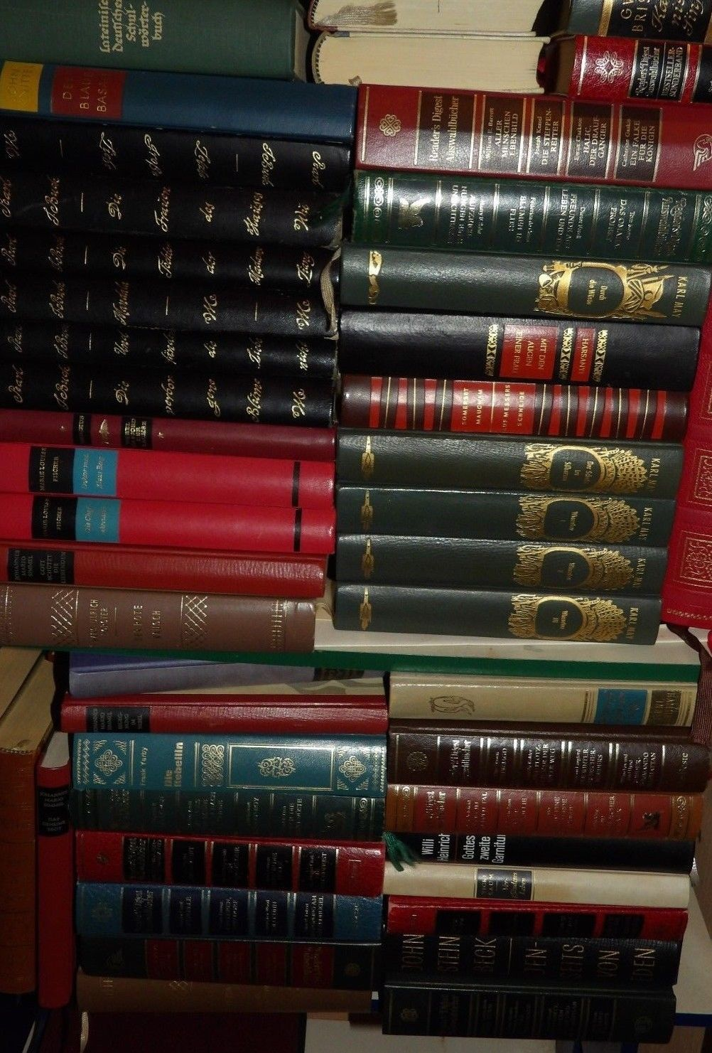 25 alte Leder Halbleder Bücher Literatur Romane Konvolut Dekoration Paket