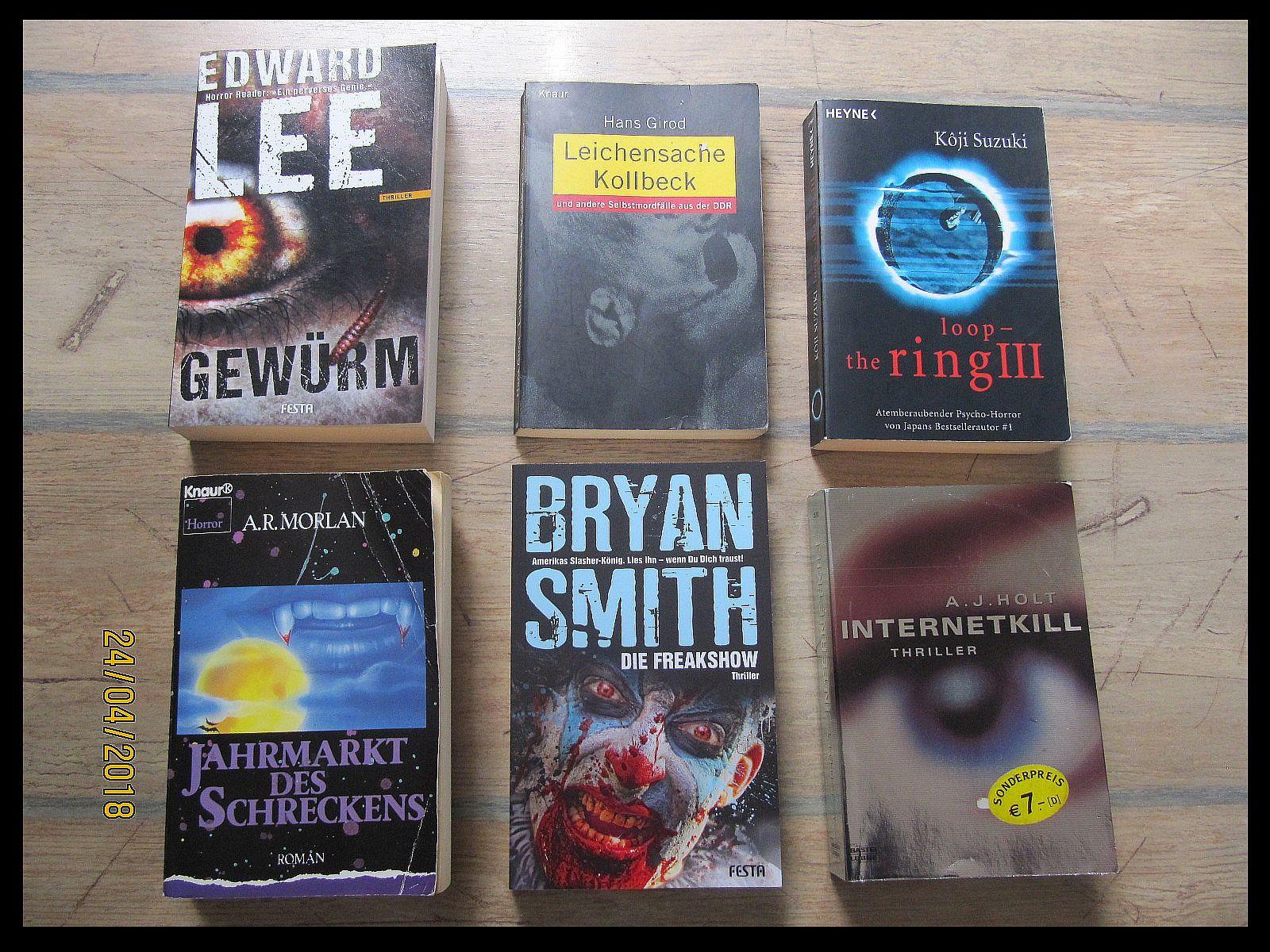 6x Horror Psychothriller Bücher Edward Lee Girod Suzuki Briyan Smith Morlan Holt