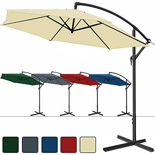 Deuba® Alu Ampelschirm Ø350cm • creme • mit Kurbelvorrichtung • Aluminium • wasserabweisende Bespannung - Sonnenschirm Schirm Gartenschirm Marktschirm