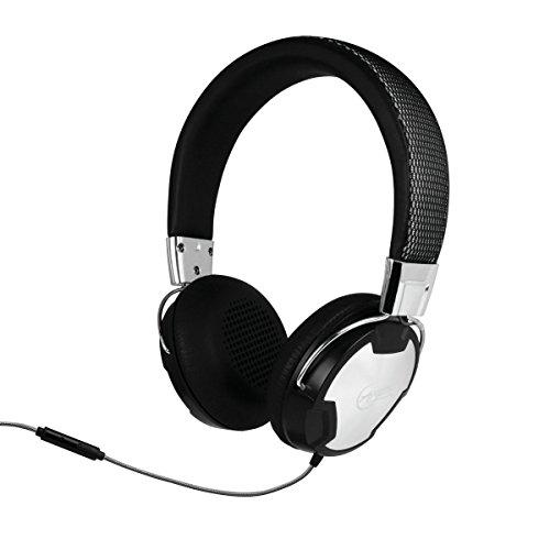 ARCTIC P614 - Premium On-Ear Kopfhörer mit In-Line-Mikrofon I Leder-Kopfbügel I Neodym-Treiber I inkl. Flugzeug-Adapter für Doppelklinke I Studio-Kopfhörer mit Multifunktionstaste - Schwarz