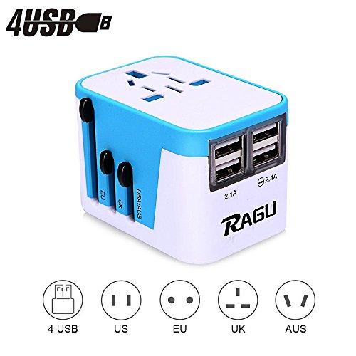 RAGU 4 USB Reiseadapter Universal Ladegerät Ladeanschlüsse & 8Loch-Buchse / reiseadapter für steckdose weltweite Anschlussstecker US/JP UK EU AU/CN mit Schmelzsicherung und Überspannungsschutz