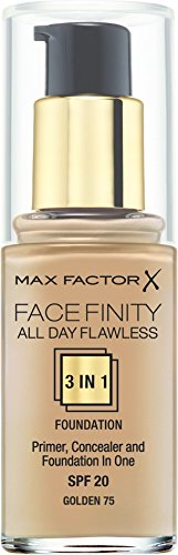 Max Factor All Day Flawless 3 in 1 Foundation 75 Golden, 1er Pack (1x 30 ml)