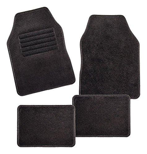 CarFashion 257704 Misano | Universael Auto Fußmatte Velour | Automatte für fast alle Auto | 4-teiliges Fussmatten Set | Auto Fußmatten universal ohne Mattenhalter | Universal Matte | mit schwarzer Einfassung