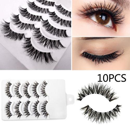 5 Paar Unechte Wimpern Damen Make Up Falsche Künstliche Handgemacht Eye Lashes